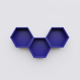 Espacio de copia de estante de hexágono azul, representación 3d de hexágono