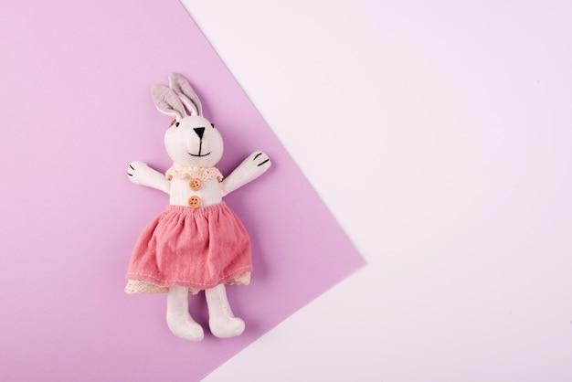 Espacio de copia de juguete de peluche de conejo esponjoso