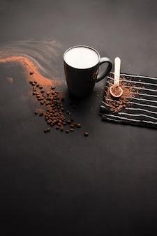 Espacio de copia de leche y cacao en polvo