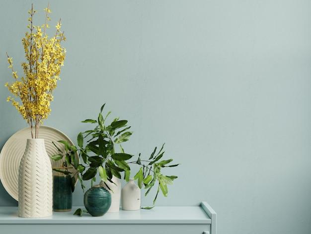 Espacio de copia de pared interior con planta verde, pared azul claro y repisa representación 3d