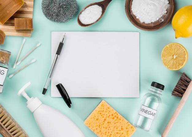 Espacio de copia de productos de limpieza ecológica