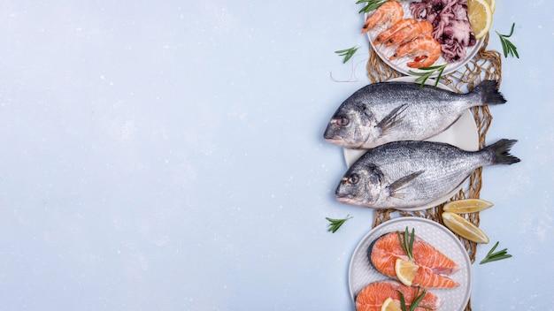 Espacio de copia de surtido de platos de mariscos