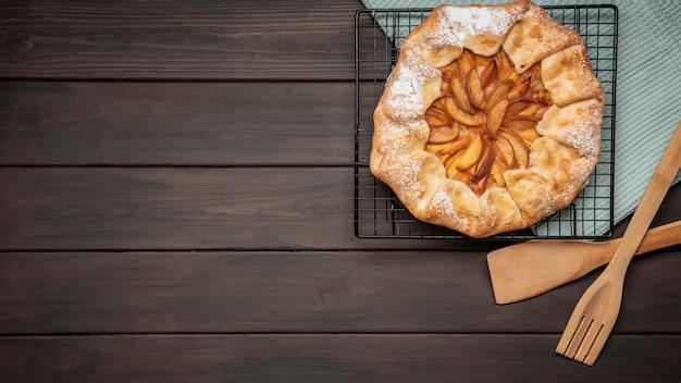 Espacio de copia de tarta de manzana casera