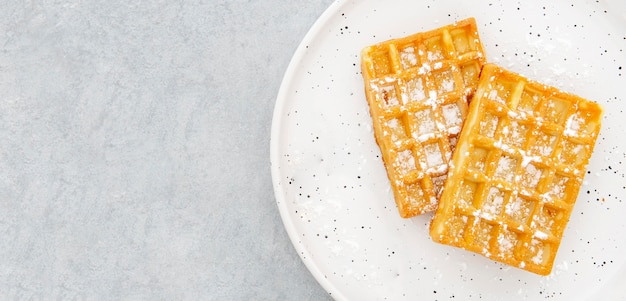 Espacio de copia de waffle de vista superior