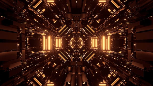 Espacio cósmico negro con luces láser doradas: perfecto para un fondo de pantalla digital
