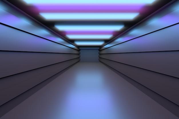 Espacio futurista - túnel vacío del pasillo con suelos reflectantes.