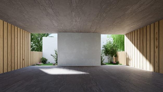 Espacio interior para eventos, pasillo vacío de material de hormigón enorme moderno. representación 3d