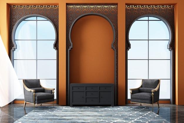 Espacio interior marroquí con patrones de corte láser árabe en ventanas y muebles de representación 3d