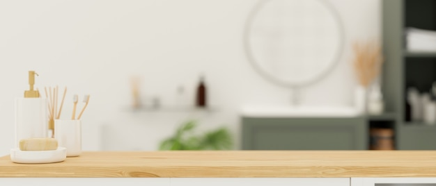 Espacio de maqueta para montaje en mesa de madera sobre renderizado 3d de baño escandinavo