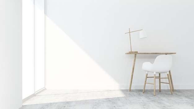 El espacio moderno de vida mínima en condominio - representación 3d