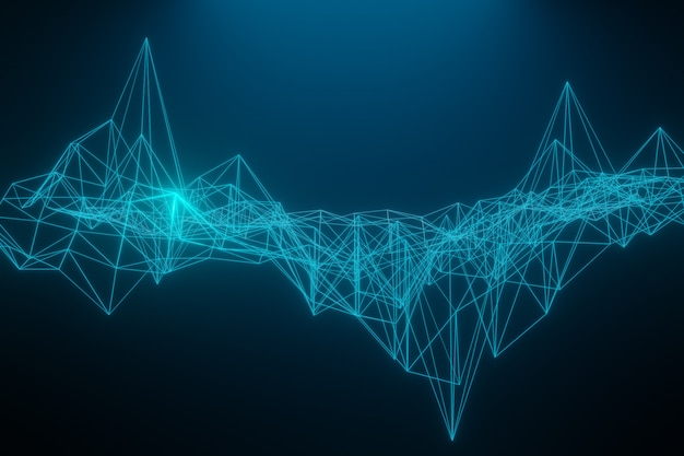 Espacio poligonal abstracto bajo poli oscuro con conexion