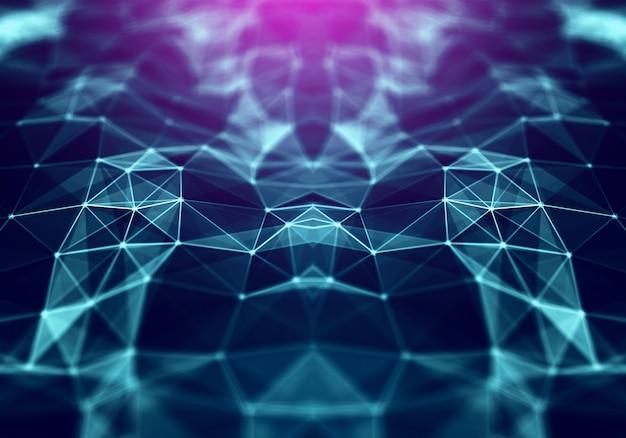 Espacio poligonal de fondo poli bajo con triángulos.