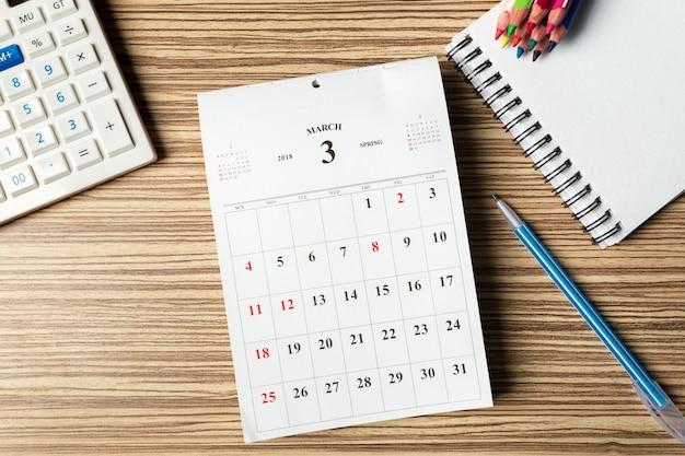 Espacio de trabajo. calendario