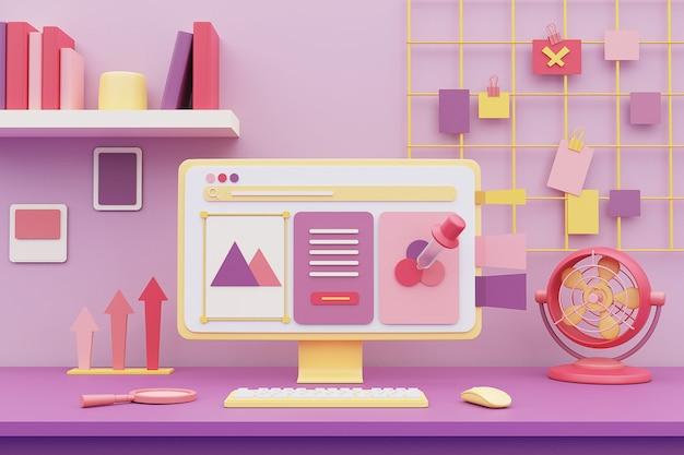 Espacio de trabajo en color pastel con equipo y material de oficina en el escritorio. representación 3d.