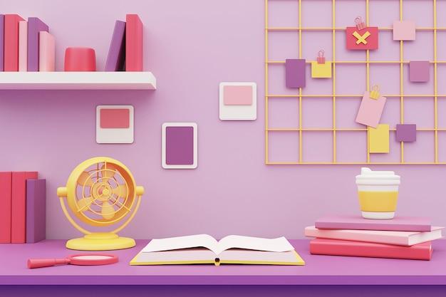 Espacio de trabajo en color pastel con libros y material de oficina en el escritorio. representación 3d.