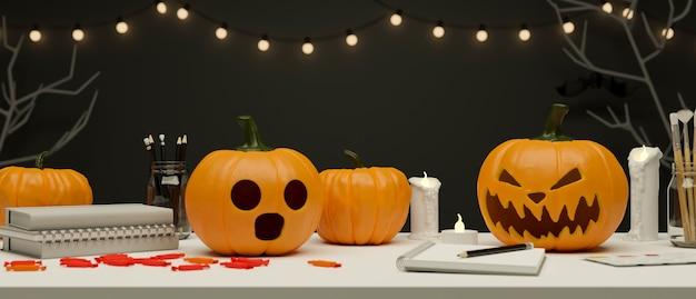 Espacio de trabajo de concepto de fiesta de halloween decorado con velas de lámparas de calabaza y representación 3d de luz
