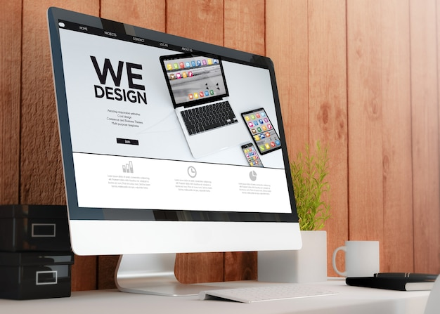 Espacio de trabajo de madera moderno con diseño de sitio web de computadora