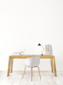 Espacio de trabajo y mesa de madera, render 3d