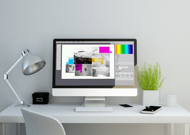Espacio de trabajo moderno y limpio con software de diseño gráfico en pantalla. representación 3d.