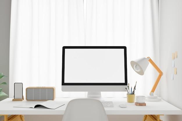Espacio de trabajo con ordenador portátil de pantalla en blanco. representación 3d.
