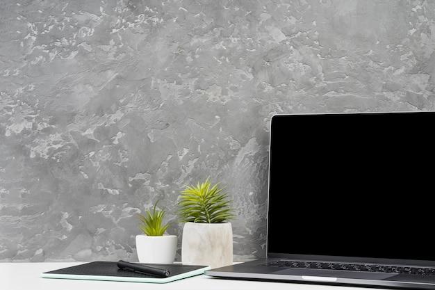 Espacio de trabajo simplista con plantas caseras.