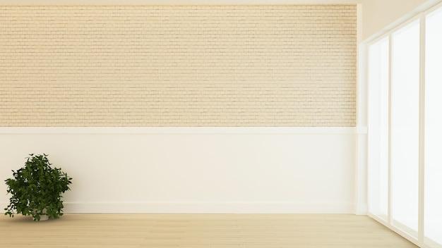 El espacio vacío mínimo interior 3d representación y fondo de vista de la naturaleza