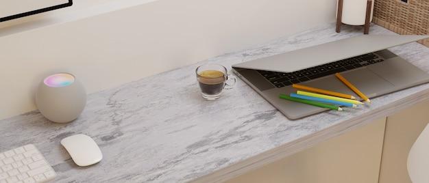 Espacio vacío moderno en el escritorio de la computadora de mármol con computadora portátil y decoración representación 3d
