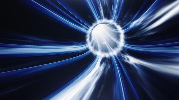 Espacio de vórtice de tiempo de agujero de gusano azul