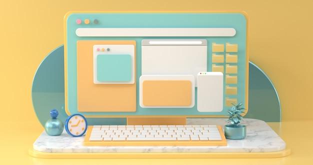 Espacios de trabajo conceptual de comunicación social en línea con objetos de diseño simple. representación 3d.
