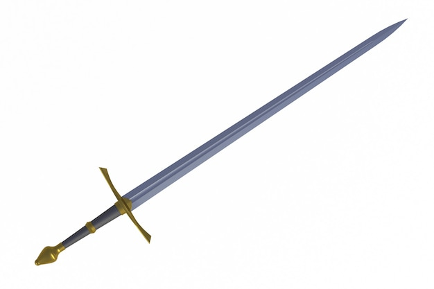 Espada muestra por diagonal, aislado en fondo blanco, renderizado 3d