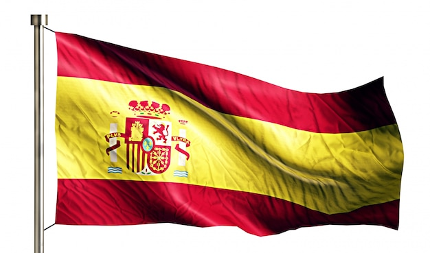 España bandera nacional aislado fondo blanco 3d