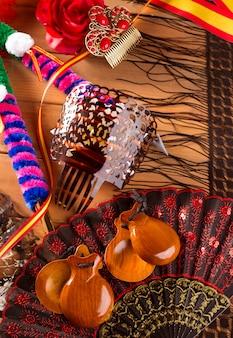 Espana típica de españa con castañuelas con elementos flamencos.