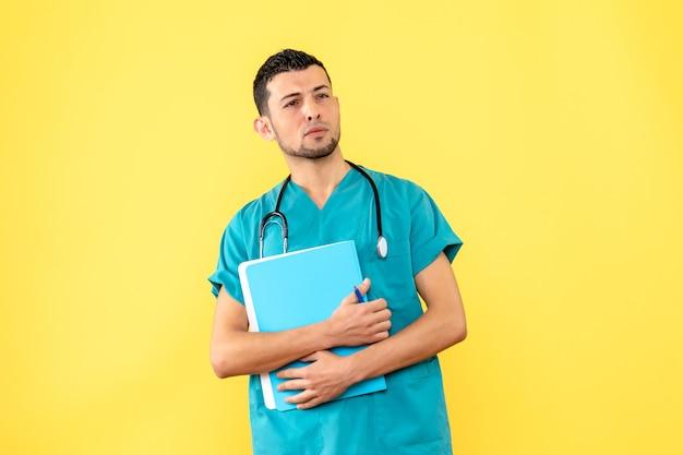 Especialista en vista lateral el médico está pensando en cómo tratar los síntomas del coronavirus