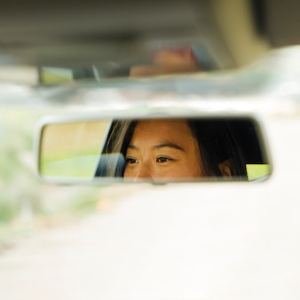 Espejo retrovisor con reflejo de ojos femeninos.