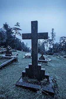 Espeluznante cementerio de halloween en la niebla