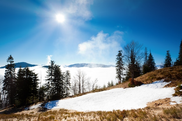 Espesa niebla blanca entre picos de montañas