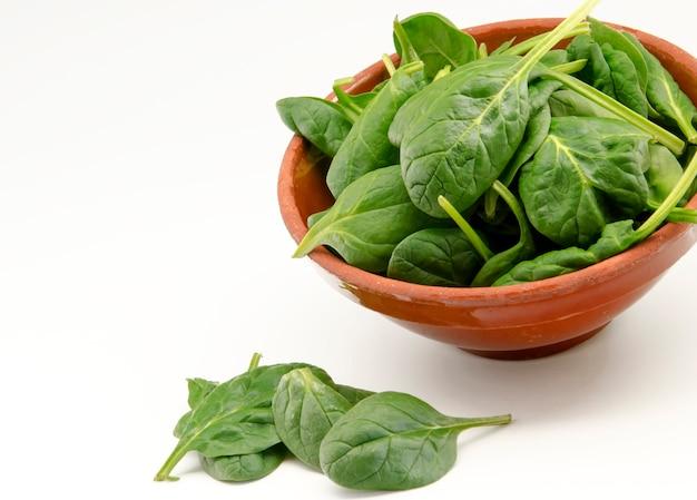 Espinacas verdes frescas