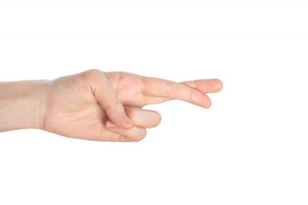 Esquema cruzado de los dedos, gesto falso aislado en una superficie blanca