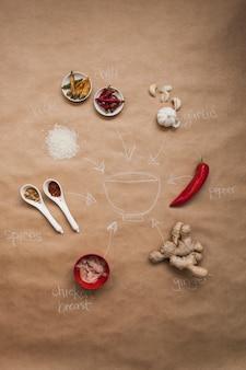 Esquema de la receta asiática del plato