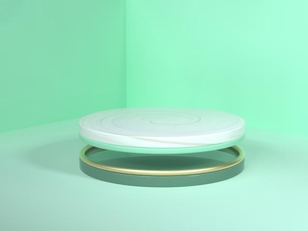 Esquina de la pared piso escena verde representación 3d oro abstracto blanco mármol podio círculo