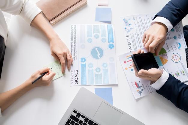 Establecer objetivos comerciales en la reunión