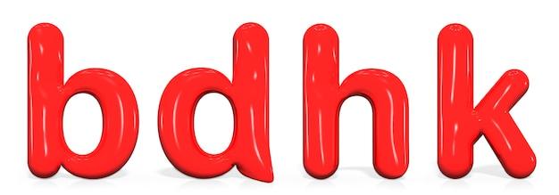 Establezca la letra b, d, h, k minúscula de pintura roja brillante de la burbuja