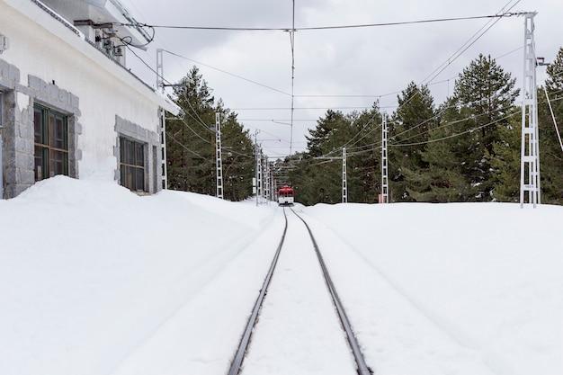 Estación de trenes, madrid, españa. el tren se mueve entre árboles y nieve. temporada de invierno