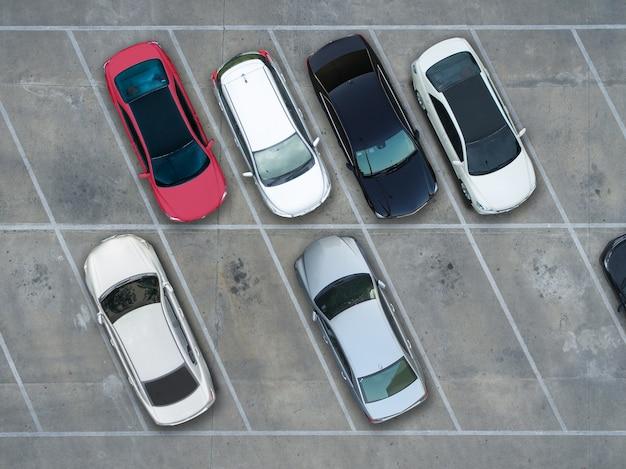 Estacionamientos vacíos, vista aérea.