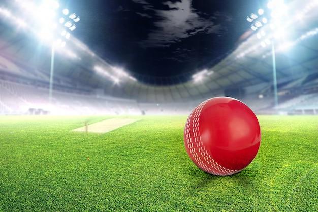 Estadio de cricket con pelota en luces y flashes render 3d