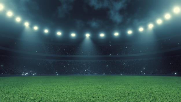 Estadio deportivo de fútbol en la noche