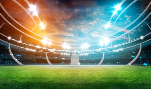 Estadio de fútbol con iluminación