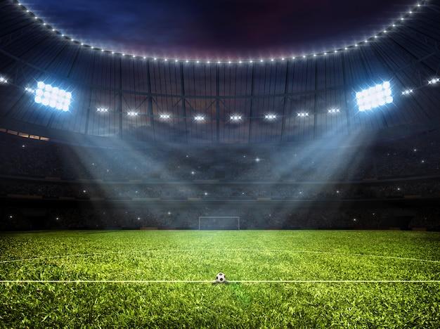 Estadio de fútbol soccer con focos