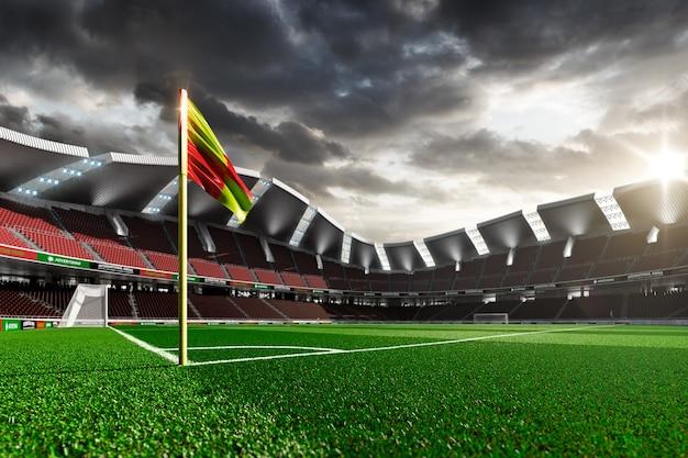 Estadio de fútbol vacío sin ventiladores en la luz del atardecer
