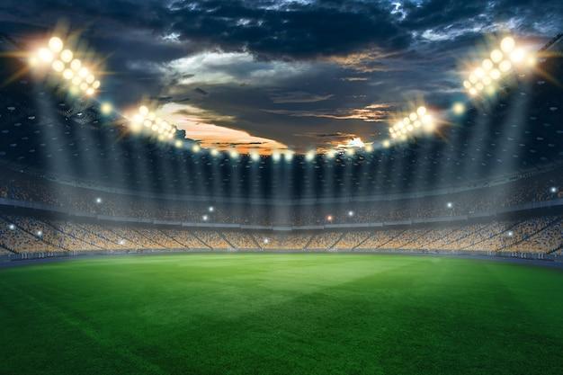 Estadio de luces y flashes, campo de fútbol